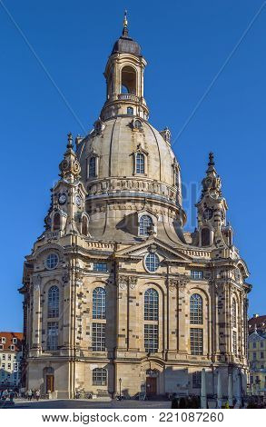 The Frauenkirche is a Lutheran church in Dresden, Saxony, Germany. It is considered an outstanding example of Protestant sacred architecture, featuring one of the largest domes in Europe