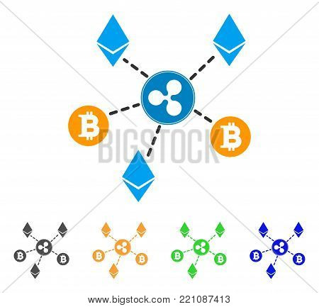 Cryptocurrency Relations icon. Vector illustration style is a flat iconic cryptocurrency relations symbol with grey, yellow, green, blue color versions. Designed for web and software interfaces.