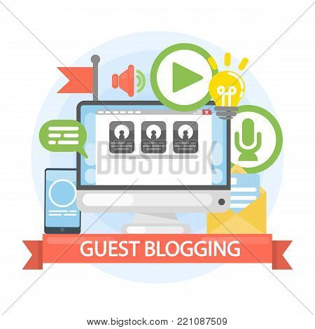 Guest blogging concept. Writing from computer or other device.