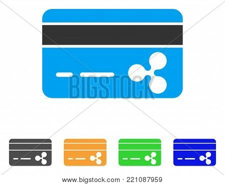Ripple Banking Card icon. Vector illustration style is a flat iconic ripple banking card symbol with grey, yellow, green, blue color versions. Designed for web and software interfaces.