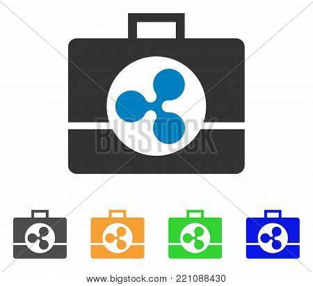 Ripple Business Case icon. Vector illustration style is a flat iconic ripple business case symbol with grey, yellow, green, blue color versions. Designed for web and software interfaces.