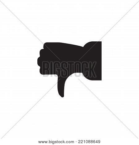 Thumb down negative icon on white background