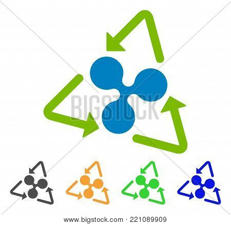 Ripple Recycling icon. Vector illustration style is a flat iconic ripple recycling symbol with gray, yellow, green, blue color versions. Designed for web and software interfaces.