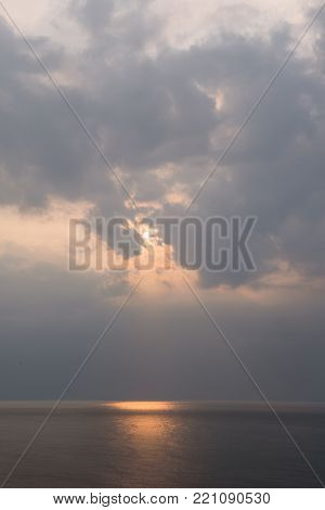 Beautiful sunset above the sea of Okhotsk seen from the coast of the Shiretoko Peninsula, Hokkaido, Japan