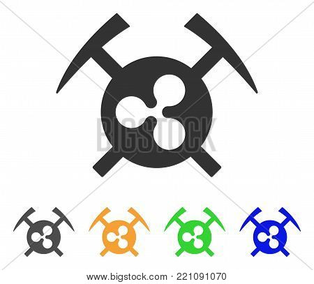 Ripple Mining Hammers icon. Vector illustration style is a flat iconic ripple mining hammers symbol with grey, yellow, green, blue color versions. Designed for web and software interfaces.