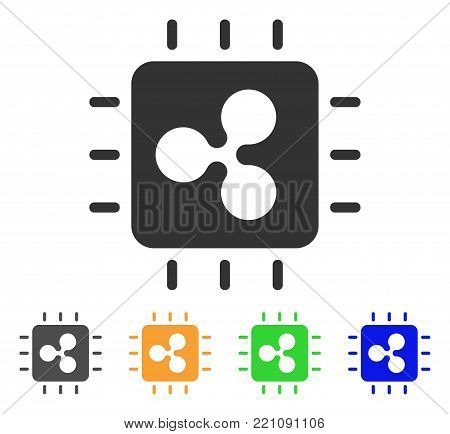 Ripple Processor Chip icon. Vector illustration style is a flat iconic ripple processor chip symbol with grey, yellow, green, blue color variants. Designed for web and software interfaces.