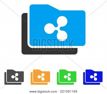 Ripple Purse icon. Vector illustration style is a flat iconic ripple purse symbol with gray, yellow, green, blue color versions. Designed for web and software interfaces.
