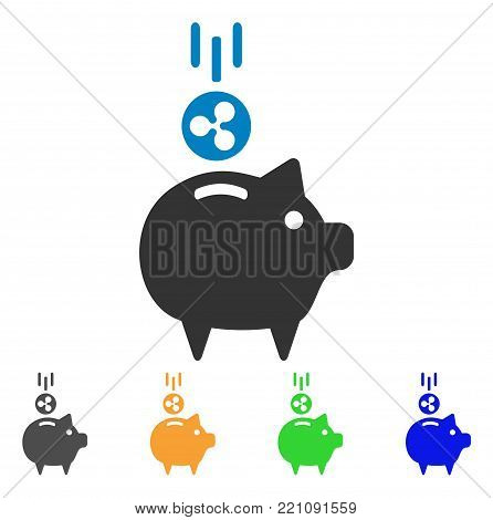 Ripple Piggy Bank icon. Vector illustration style is a flat iconic ripple piggy bank symbol with gray, yellow, green, blue color variants. Designed for web and software interfaces.
