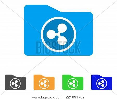 Ripple Purse icon. Vector illustration style is a flat iconic ripple purse symbol with grey, yellow, green, blue color versions. Designed for web and software interfaces.