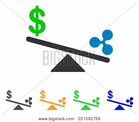 Dollar Ripple Swing Balance icon. Vector illustration style is a flat iconic dollar ripple swing balance symbol with grey, yellow, green, blue color variants. Designed for web and software interfaces.