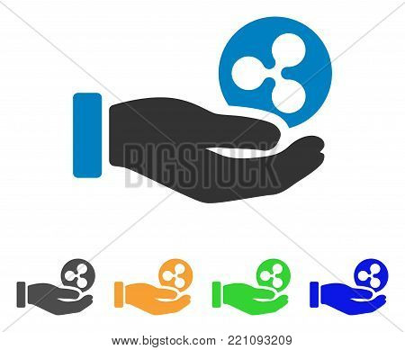 Hand Take Ripple icon. Vector illustration style is a flat iconic hand take ripple symbol with gray, yellow, green, blue color variants. Designed for web and software interfaces.