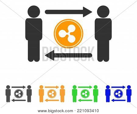 People Exchange Ripple Coin icon. Vector illustration style is a flat iconic people exchange ripple coin symbol with grey, yellow, green, blue color versions. Designed for web and software interfaces.