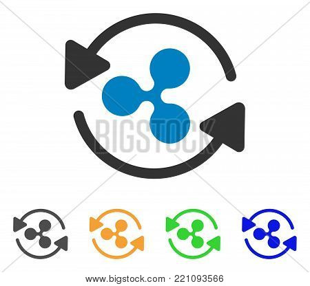 Refresh Ripple icon. Vector illustration style is a flat iconic refresh ripple symbol with grey, yellow, green, blue color versions. Designed for web and software interfaces.