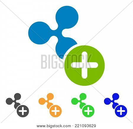 Ripple Add icon. Vector illustration style is a flat iconic ripple add symbol with grey, yellow, green, blue color versions. Designed for web and software interfaces.