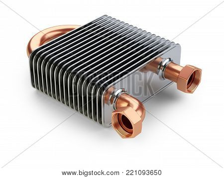 Heat exchanger with tubes for connection of Industrial cooling unit equipment. 3d illustratin on a white bacground.