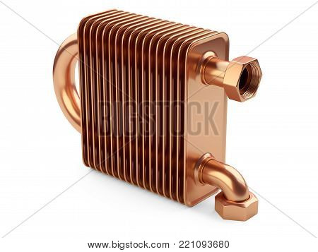Copper heat exchanger with tubes for connection of Industrial cooling unit equipment. 3d illustratin on a white bacground.