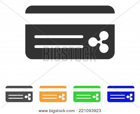 Ripple Bank Card icon. Vector illustration style is a flat iconic ripple bank card symbol with gray, yellow, green, blue color versions. Designed for web and software interfaces.