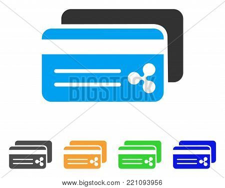 Ripple Bank Cards icon. Vector illustration style is a flat iconic ripple bank cards symbol with gray, yellow, green, blue color versions. Designed for web and software interfaces.