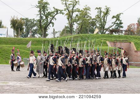Olomouc Czech Rep. October 7th 2017 historical festival Olmutz 1813. Napoleonic soldiers stand at attention and being controlled by an officer. Military muster.