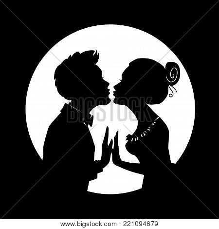 Silhouettes of man and woman merge into kiss on background of big moon. Greeting card for Valentines Day. Illustration for invitation, greeting card and different design project