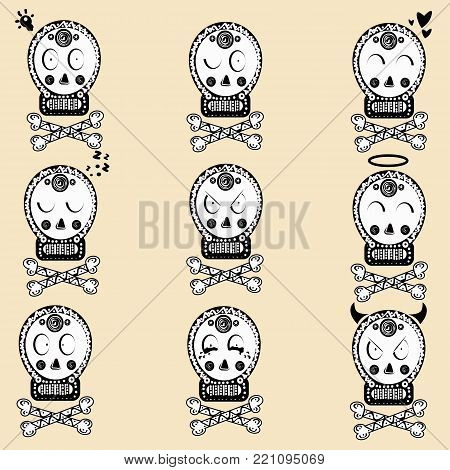 Skull with floral ornament. Day of the dead. Helloween