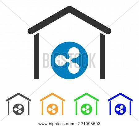 Ripple Coin Garage icon. Vector illustration style is a flat iconic ripple coin garage symbol with grey, yellow, green, blue color versions. Designed for web and software interfaces.