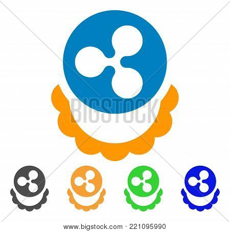Ripple Coin Reward icon. Vector illustration style is a flat iconic ripple coin reward symbol with grey, yellow, green, blue color variants. Designed for web and software interfaces.