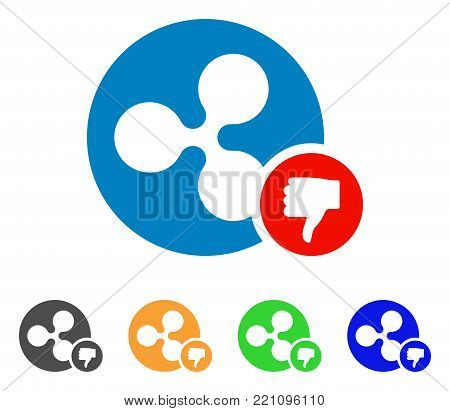 Ripple Coin Thumb Down icon. Vector illustration style is a flat iconic ripple coin thumb down symbol with grey, yellow, green, blue color variants. Designed for web and software interfaces.