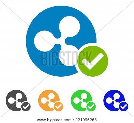 Ripple Coin Valid icon. Vector illustration style is a flat iconic ripple coin valid symbol with gray, yellow, green, blue color versions. Designed for web and software interfaces.