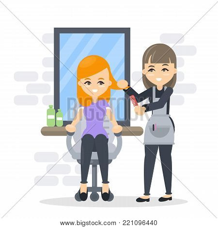 Woman at beauty salon with hairdresser or hair stylist.
