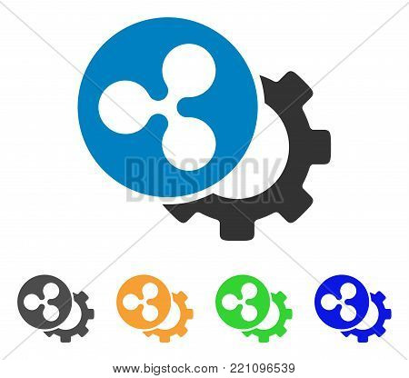 Ripple Configuration Gear icon. Vector illustration style is a flat iconic ripple configuration gear symbol with gray, yellow, green, blue color variants. Designed for web and software interfaces.