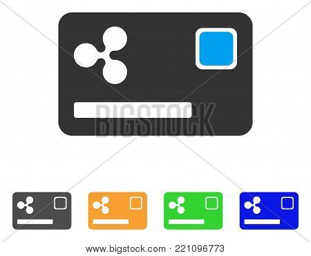 Ripple Credit Card icon. Vector illustration style is a flat iconic ripple credit card symbol with gray, yellow, green, blue color versions. Designed for web and software interfaces.