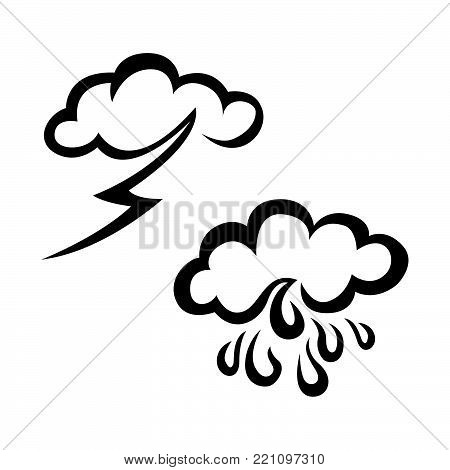 Raining and stroming weather sketch icon set. Hand drawn weather icon set. Weather vector icon set. Weather icon set isolated on white background.
