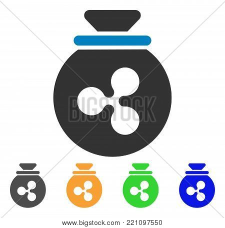 Ripple Harvest Sack icon. Vector illustration style is a flat iconic ripple harvest sack symbol with gray, yellow, green, blue color versions. Designed for web and software interfaces.