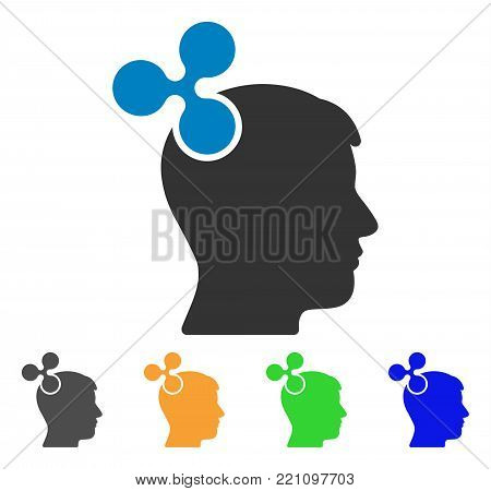 Ripple Imagination icon. Vector illustration style is a flat iconic ripple imagination symbol with grey, yellow, green, blue color versions. Designed for web and software interfaces.