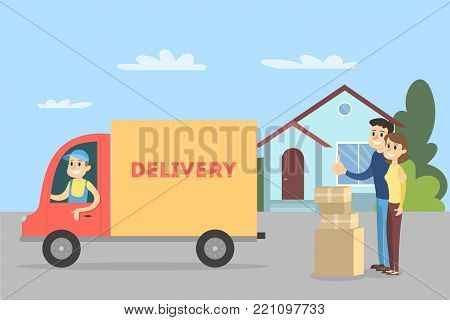 Moving to house with delivery truck. Moving furniture.