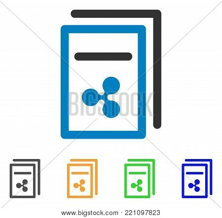 Ripple Invoices icon. Vector illustration style is a flat iconic ripple invoices symbol with gray, yellow, green, blue color variants. Designed for web and software interfaces.
