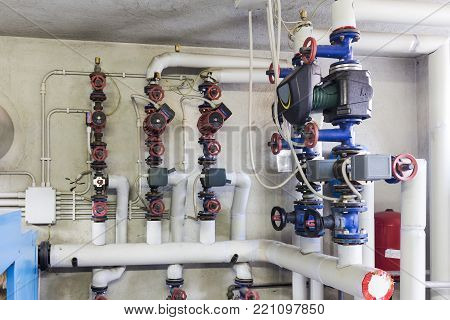 industrial circulation pumps in a heating system