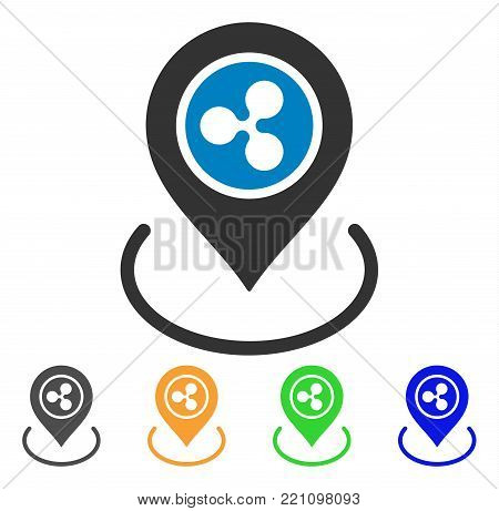 Ripple Location icon. Vector illustration style is a flat iconic ripple location symbol with grey, yellow, green, blue color variants. Designed for web and software interfaces.