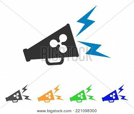 Ripple Megaphone Alert icon. Vector illustration style is a flat iconic ripple megaphone alert symbol with grey, yellow, green, blue color variants. Designed for web and software interfaces.