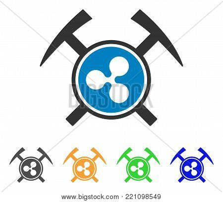 Ripple Mining Hammers icon. Vector illustration style is a flat iconic ripple mining hammers symbol with gray, yellow, green, blue color variants. Designed for web and software interfaces.