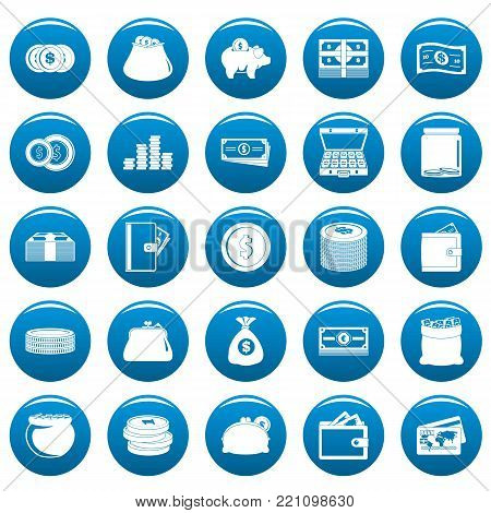 Money icons set blue. Simple illustration of 25 money vector icons for web