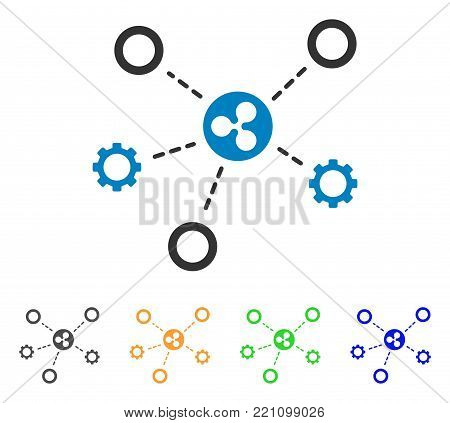 Ripple Network Structure icon. Vector illustration style is a flat iconic ripple network structure symbol with grey, yellow, green, blue color versions. Designed for web and software interfaces.