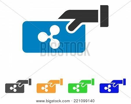 Ripple Payment icon. Vector illustration style is a flat iconic ripple payment symbol with gray, yellow, green, blue color versions. Designed for web and software interfaces.