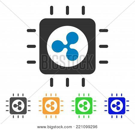 Ripple Processor Chip icon. Vector illustration style is a flat iconic ripple processor chip symbol with grey, yellow, green, blue color versions. Designed for web and software interfaces.