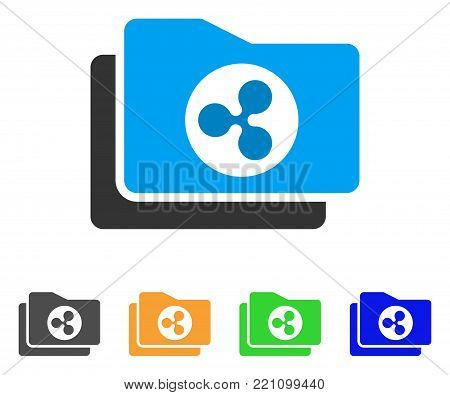 Ripple Purse icon. Vector illustration style is a flat iconic ripple purse symbol with grey, yellow, green, blue color variants. Designed for web and software interfaces.