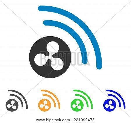 Ripple Radio Signal icon. Vector illustration style is a flat iconic ripple radio signal symbol with gray, yellow, green, blue color versions. Designed for web and software interfaces.