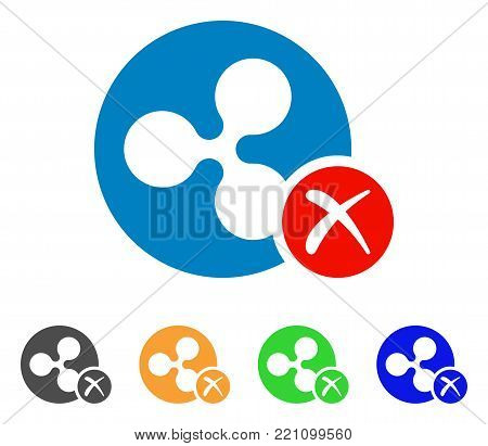 Ripple Reject icon. Vector illustration style is a flat iconic ripple reject symbol with grey, yellow, green, blue color variants. Designed for web and software interfaces.