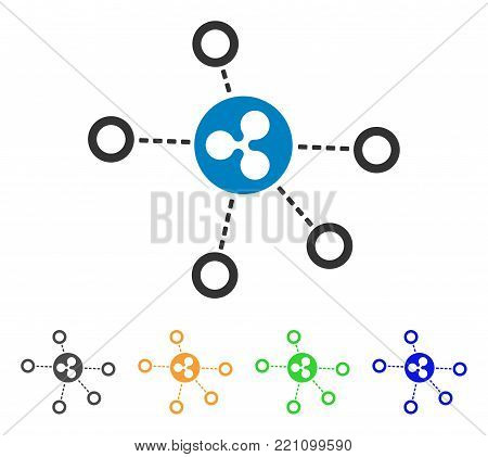 Ripple Relations icon. Vector illustration style is a flat iconic ripple relations symbol with gray, yellow, green, blue color variants. Designed for web and software interfaces.