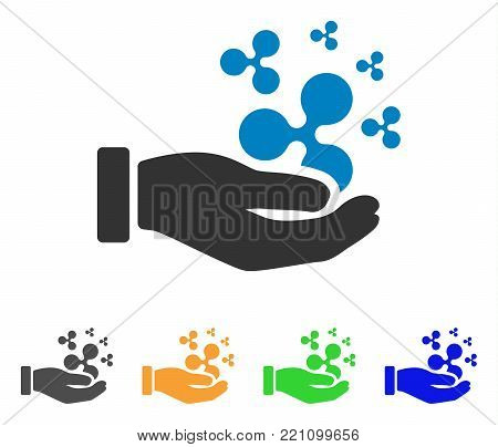 Ripple Salary Hand icon. Vector illustration style is a flat iconic ripple salary hand symbol with grey, yellow, green, blue color variants. Designed for web and software interfaces.